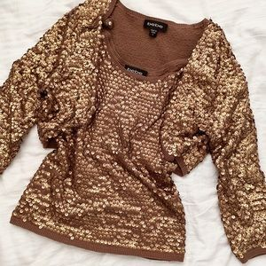 90s gold sequin Bebe tank and shrug